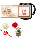 Black Mug with Rakhi Tika, Chocolates